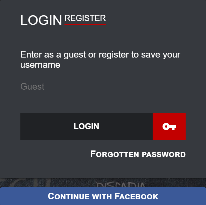 Chat room login and registration